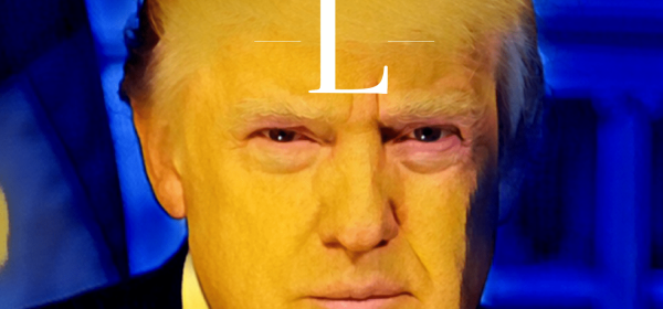 Trump with shape of an L on his forehead